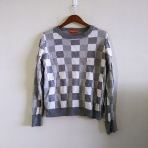 Joe Fresh Woman White & Gray Checkered Sweater M